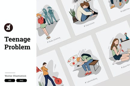 Teenage problem - Handdrawn vector illustration
