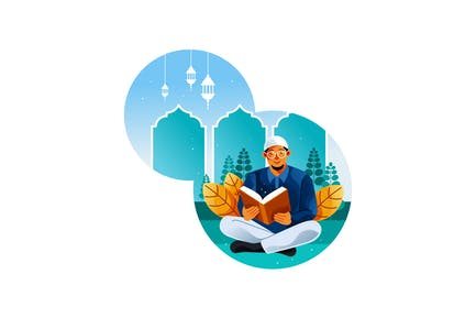 Les musulmans lisent le Coran au mois du Ramadan