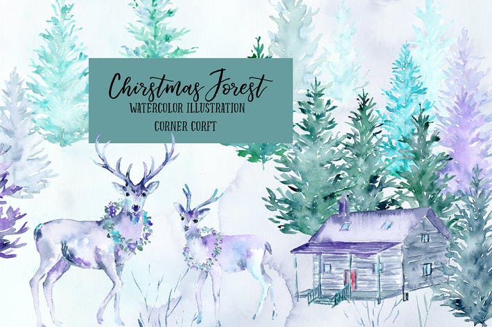 Thumbnail for Watercolor Christmas Forest