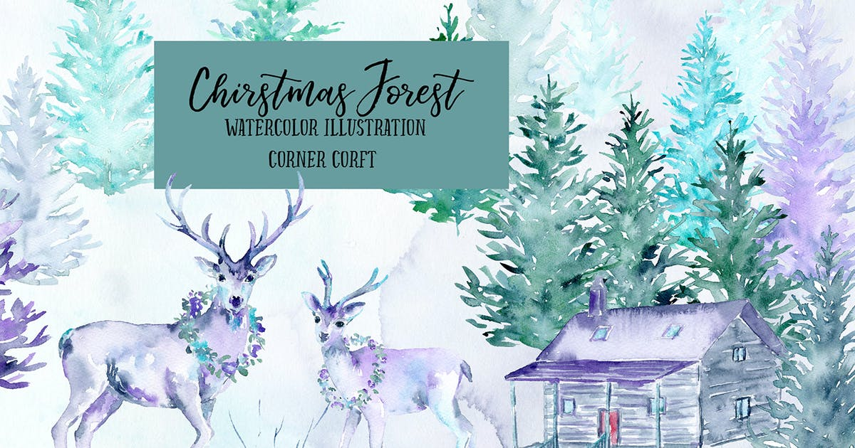Watercolor Christmas Forest by cornercroft