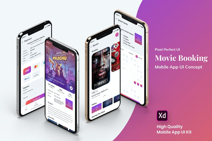 Thumbnail for Movie Booking MobileApp UI Kit Light Version (XD)