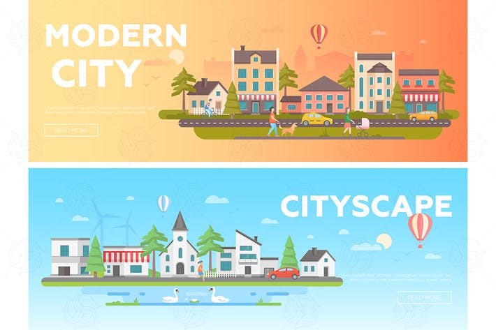Thumbnail for Cityscape - set of flat vector illustrations