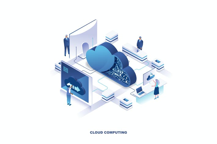 Cloud Computing Isometric Banner Flat Concept