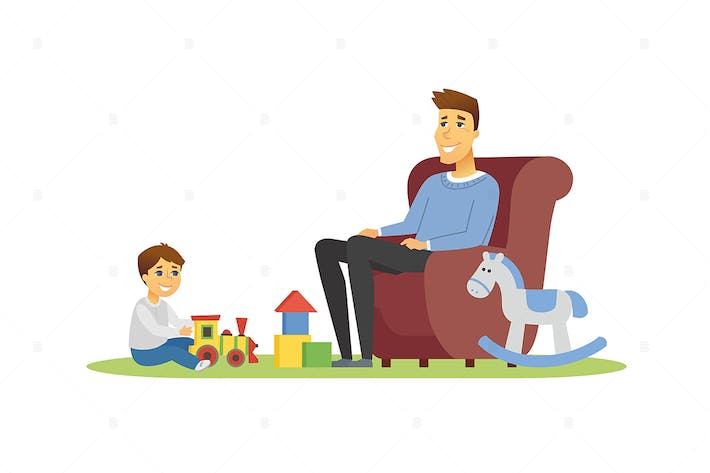 Thumbnail for Father and son - vector illustration