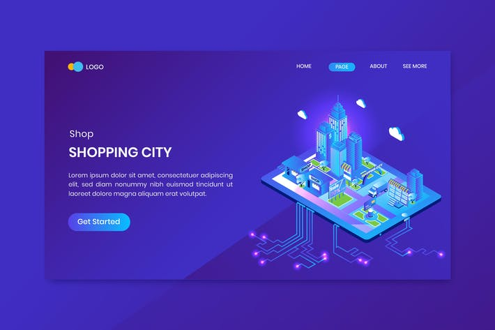 Thumbnail for Shopping City Isometric Концепция целевая страница