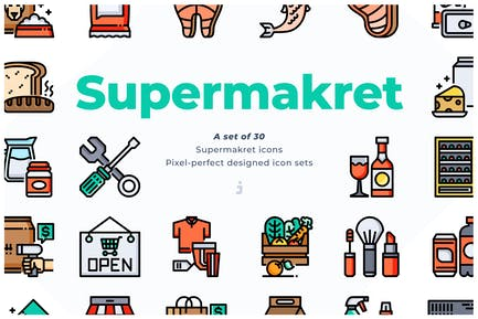 30 Supermarket Icons