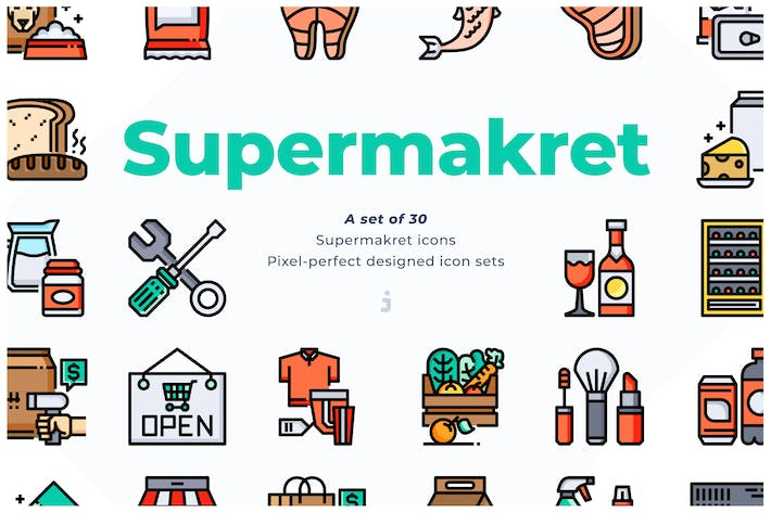 Thumbnail for 30 Supermarket Icons