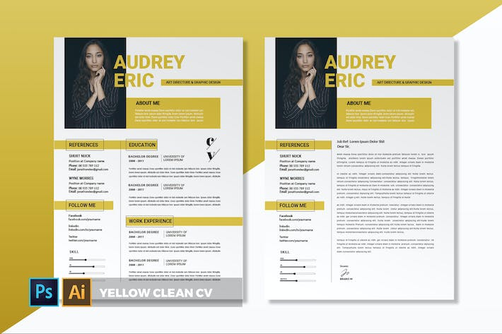 Thumbnail for Yellow  Clean | CV & Resume