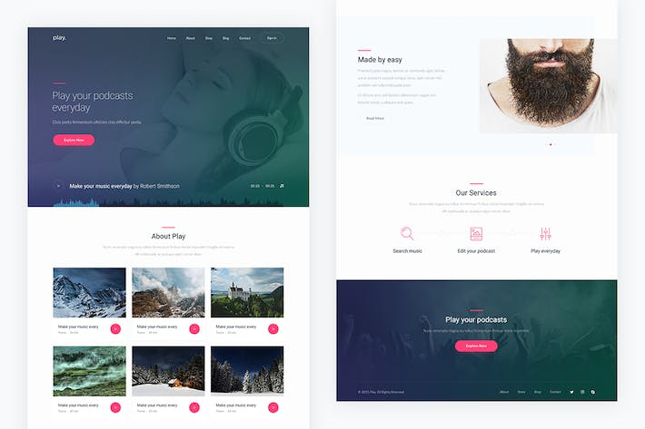 Thumbnail for Play — Music PSD Template