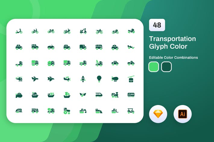 Thumbnail for Transportation Glyph Color Icon Set
