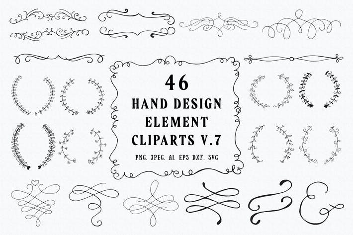 Thumbnail for 45+ Hand Design Element Cliparts Ver. 7