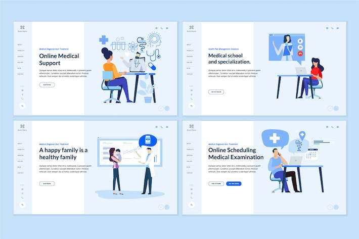 Thumbnail for Medicine and healthcare web page design templates