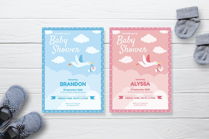 Thumbnail for Cloudy Sky and Swan - Baby Shower Invitation