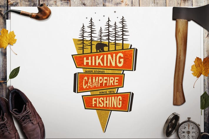 Thumbnail for Retro Hiking Badge, Mountain Adventure Camp Label