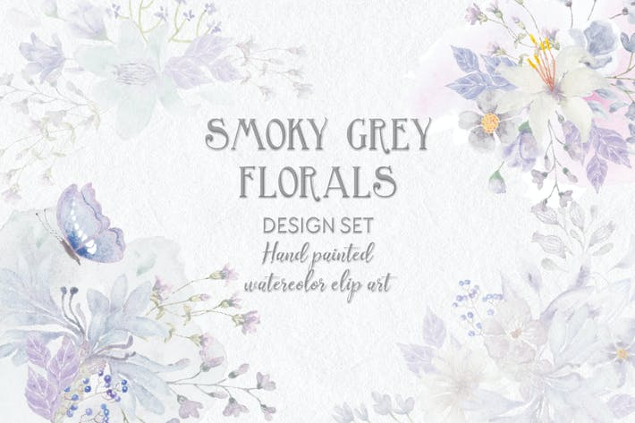 Thumbnail for Smoky Grey Florals Watercolor Design Set