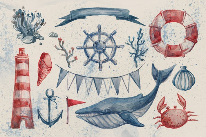 Thumbnail for Nautical Watercolor Set