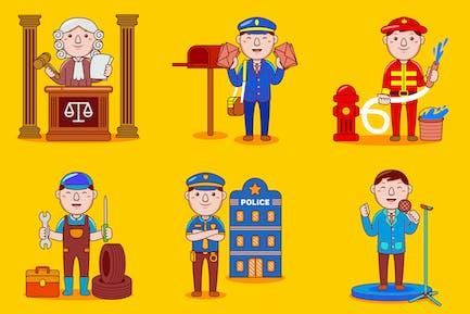 Mann-Beruf-Cartoon-Vektor-Paket #01