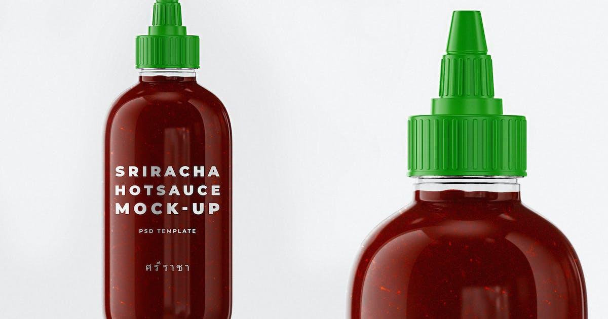 Download Sriracha Hot Sauce Bottle Mock-up Template by EightonesixStudios
