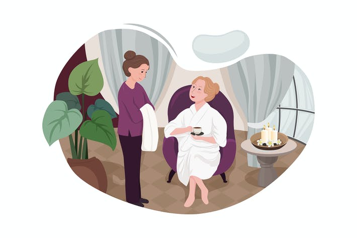 Customers receiving services in spa salons