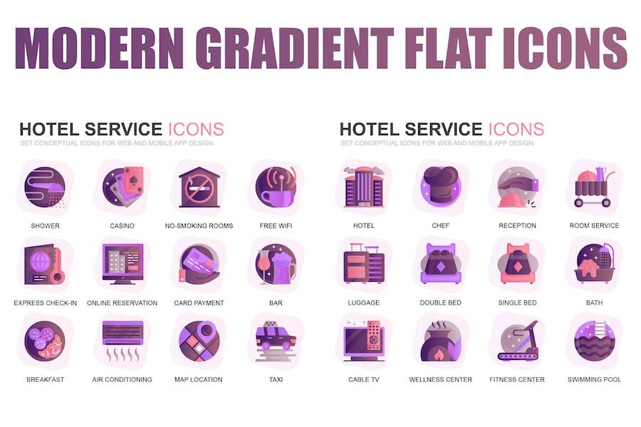Modern Set Gradient Flat Icons