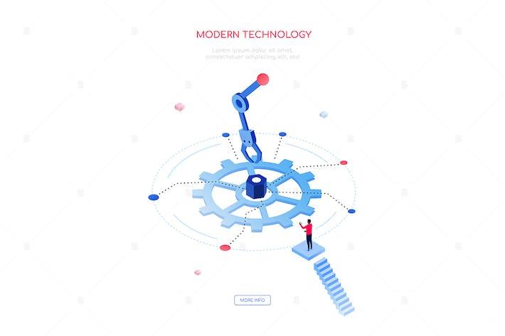 Modern technology - modern isometric web banner