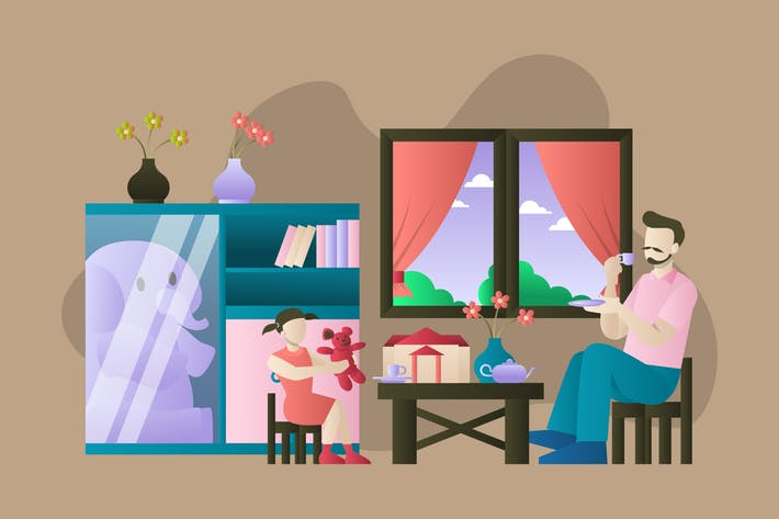 Thumbnail for Daddy and Daughter Playing - Activity Illustration