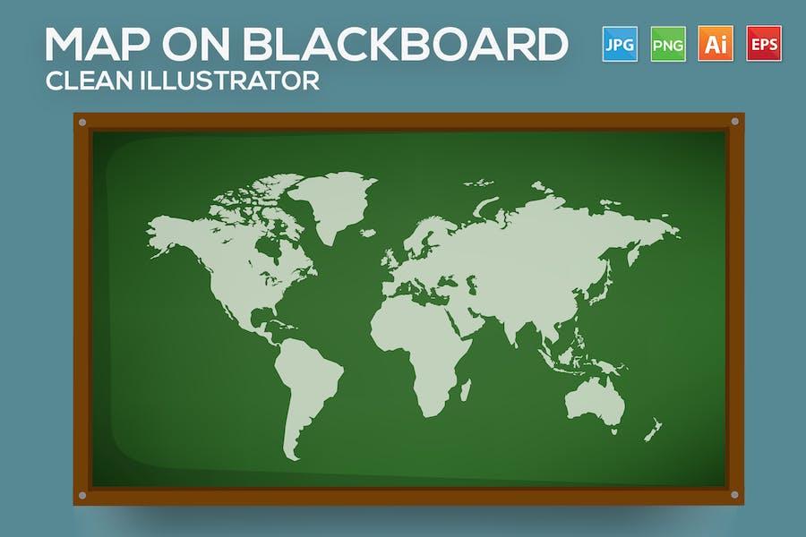 Map on blackboard background