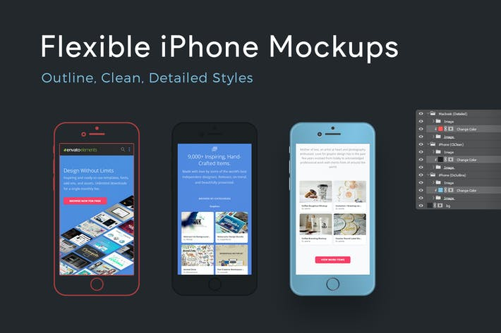 Thumbnail for Flexible iPhone Mockups: Detailed, Clean, Outline