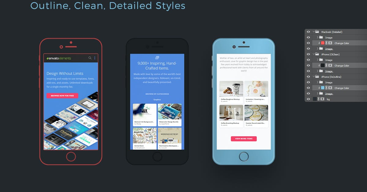 Download Flexible iPhone Mockups: Detailed, Clean, Outline by Stockware