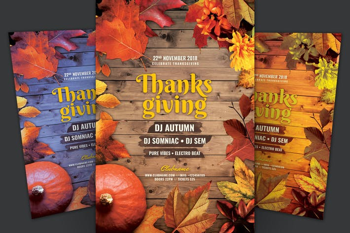 Thanksgiving Flyer with border of maple leaves and fall and wooden background