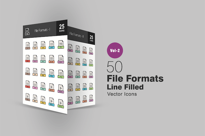 Thumbnail for 50 File Formats Line Filled Icons