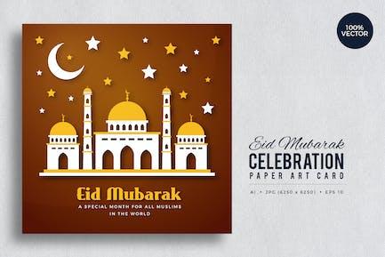 Eid Mubarak Paper Art Vector Card Vol.9
