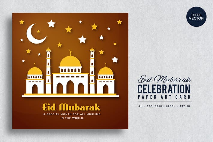 Thumbnail for Eid Mubarak Paper Art Vector Card Vol.9
