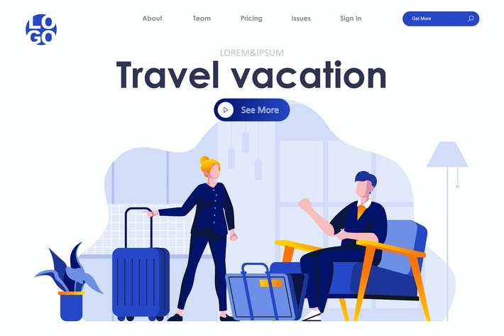 Thumbnail for Travel and Vacation Landing Page Flat Concept