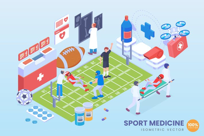 Thumbnail for Isometric Sport Medicine Vector Concept