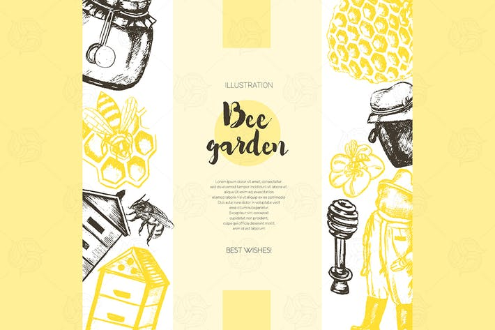 Thumbnail for Bee Garden - color drawn vintage banner