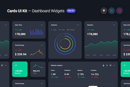 Cards UI Kit - Dashboard Widgets & Components