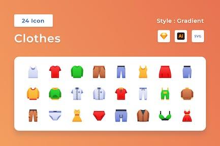 Conjunto de iconos degradado de ropa