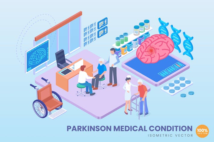 Thumbnail for Isometric Parkinson Medical Vector Concept