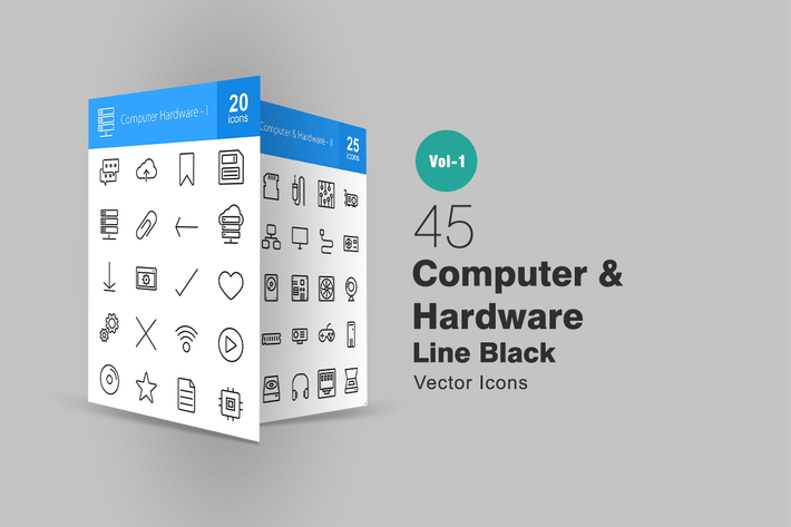 Thumbnail for 45 Computer Line Icons