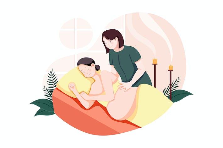 Thumbnail for Jeune belle femme enceinte ayant un massage
