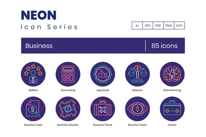 Thumbnail for 85 Business Icons | Neon Series