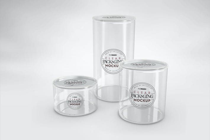 Thumbnail for Clear Cans with Pull tabs and Clear Lids Mockup