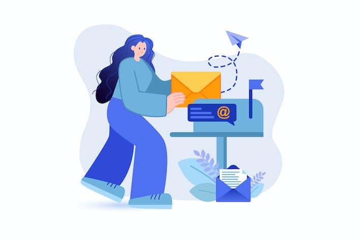 E-Mail-Marketing - Flat Concept