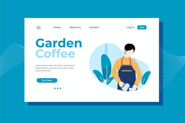 Thumbnail for Garden Coffee Landing Page Illustration