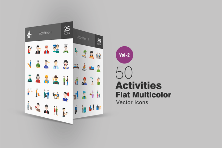 Thumbnail for 50 Activities Flat Multicolor Icons