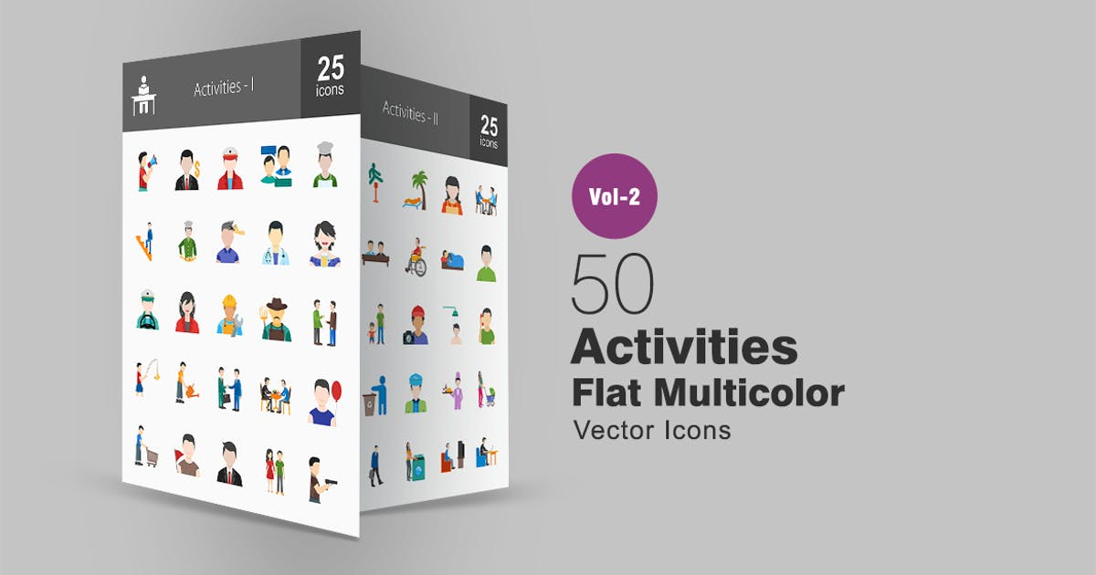 50 Activities Flat Multicolor Icons by IconBunny