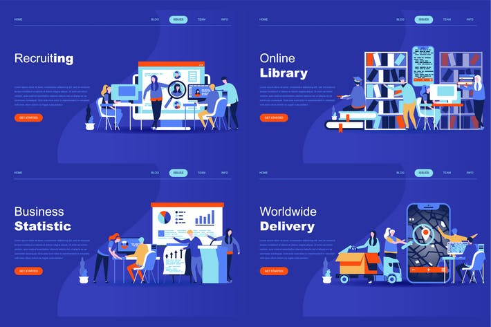 Thumbnail for Set of Flat Design Landing Page Templates