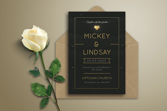 Thumbnail for Simple Black Wedding Invitation
