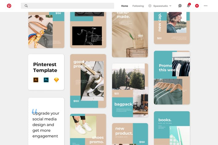 Thumbnail for Pinterest Templates Minimalist Shop Promotion